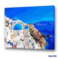 數字油畫 愛琴海 湛藍寧靜