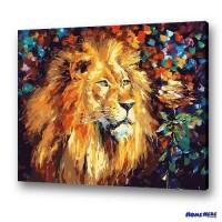 數字油畫 獅子與玫瑰