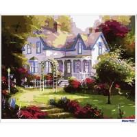 數字油畫 小屋花園