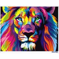數字油畫 幻彩獅子