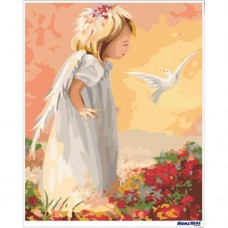 數字油畫 白鴿天使