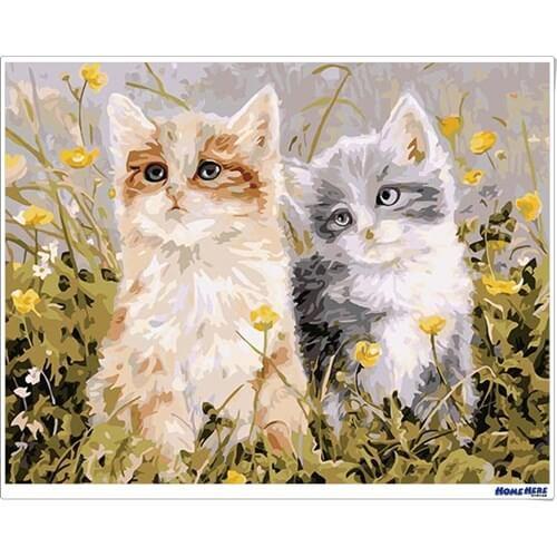 數字油畫 兩隻貓咪