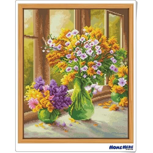 鑽石畫 窗台上的花