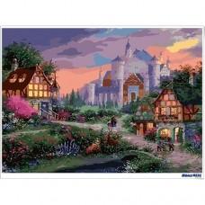 數字油畫 晚霞中的城堡