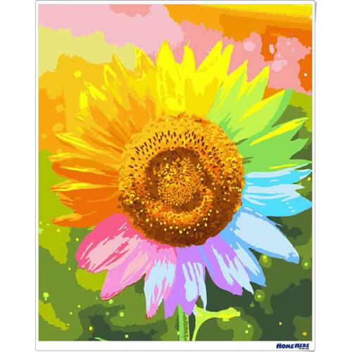 數字油畫 向日葵 繽紛