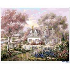 數字油畫 花園別墅