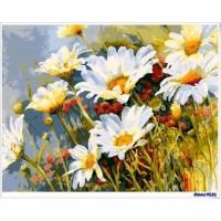 數字油畫 春白菊