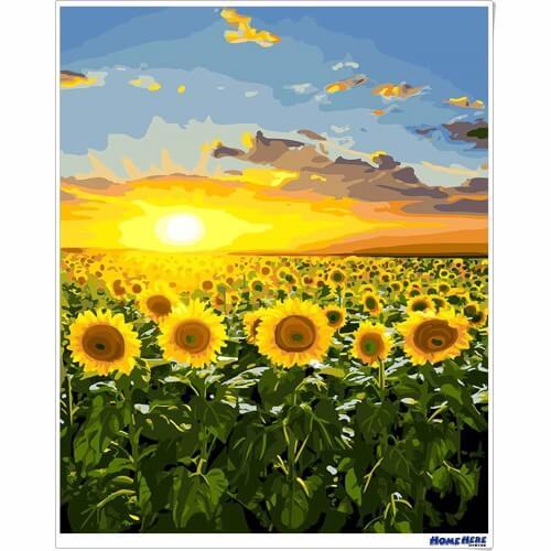 數字油畫 向日葵 金色霞光