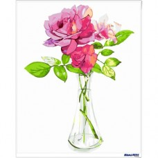 數字油畫 小清新 玻璃玫瑰