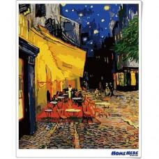 數字油畫 梵谷 夜晚露天咖啡座
