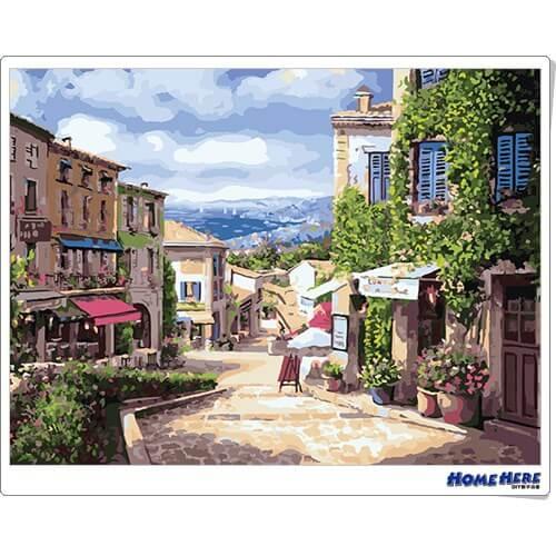數字油畫 南法小鎮