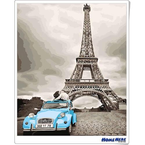 數字油畫 巴黎之吻