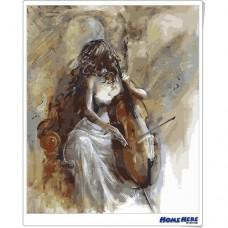 數字油畫 拉提琴的姑娘