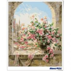 數字油畫 露台玫瑰