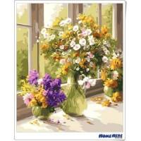 數字油畫 窗台上的花