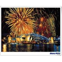 數字油畫 雪梨歌劇院的煙火 (金屬色)