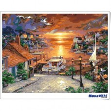 數字油畫 漁村恬靜的黃昏