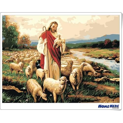 數字油畫 耶穌善牧圖