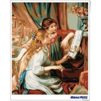數字油畫 雷諾瓦 彈琴的少女