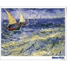 數字油畫 梵谷 桑特海景