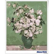 數字油畫 梵谷 純潔白玫瑰