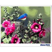 數字油畫 花開鳥為伴
