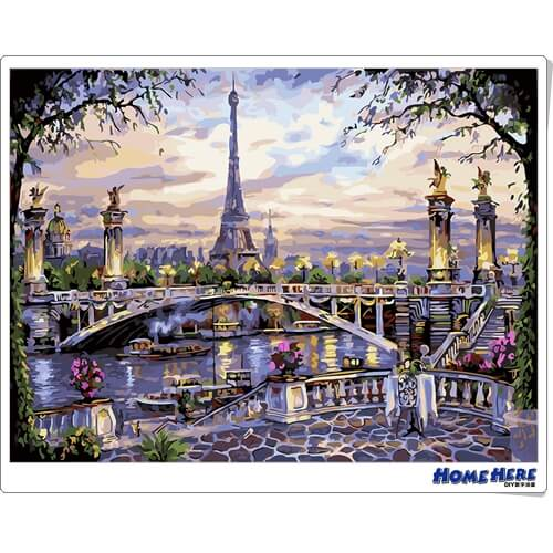 數字油畫 塞納河畔的鐵塔