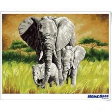 數字油畫 大象 呵護