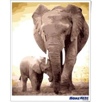 數字油畫 大象 追隨