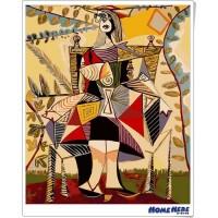 數字油畫 畢卡索 在花園裡的女人
