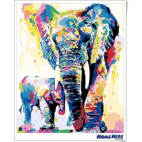 數字油畫 彩色大象和小象