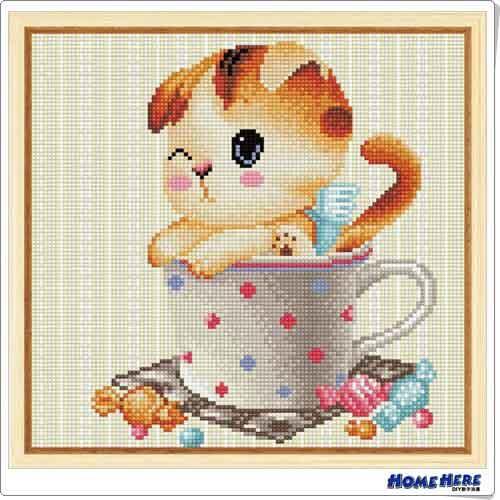 鑽石畫 杯子糖果貓
