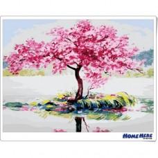 數字油畫 湖泊桃艷紅