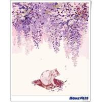 數字油畫 和風紫藤貓