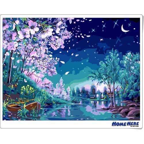 數字油畫 星月櫻花