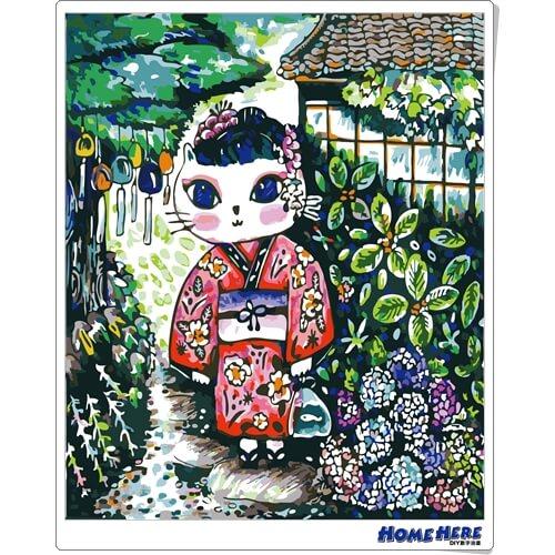 數字油畫 X 插畫家尼果 紫陽風鈴貓