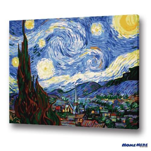 數字油畫 梵谷 星夜