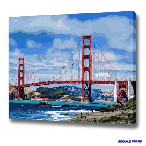 數字油畫 舊金山金門大橋