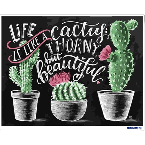 數字油畫 黑板畫 生命就像仙人掌刺而美麗