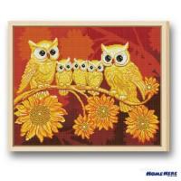 鑽石畫 貓頭鷹與向日葵
