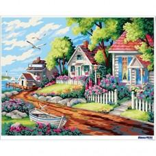 數字油畫 海邊別墅