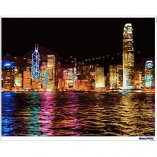 數字油畫 香港夜景
